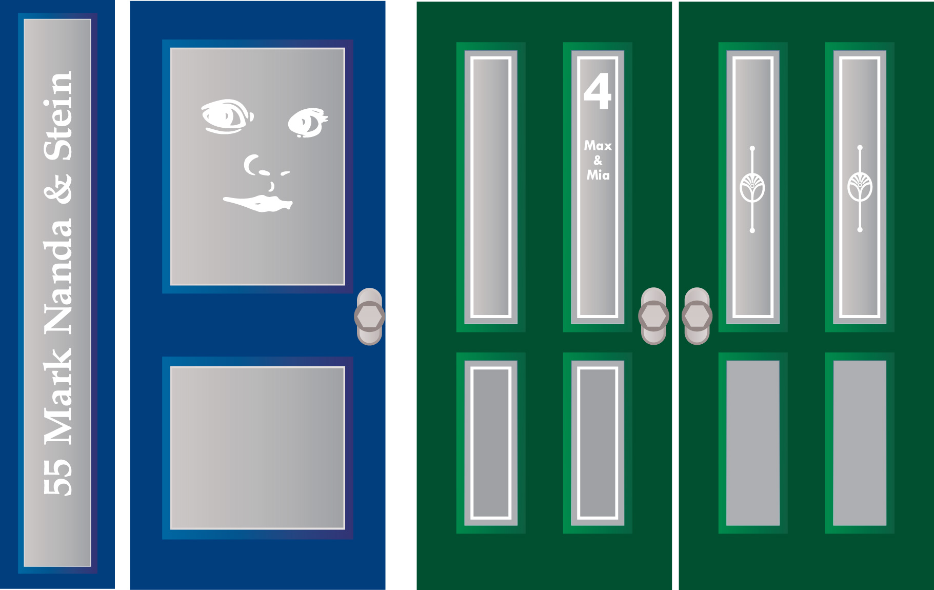 raamfolie, voordeur, voorbeelden, gesneden