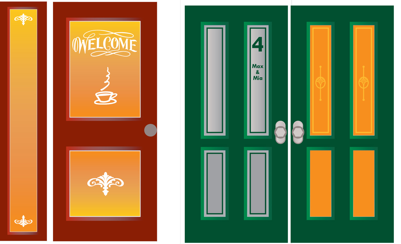 raamfolie, voorbeelden, voordeur, full colour