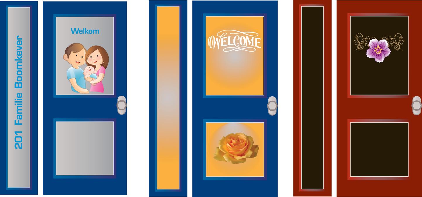 raamfolie, full colour, voorbeelden voordeur