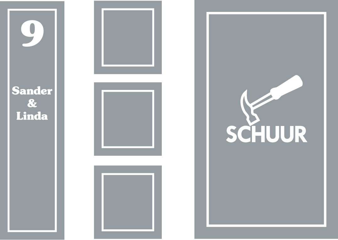 raamfolie voorbeeld voordeur en schuur windowdeco