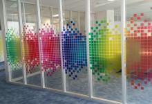 Transparante raamfolie (3) kantoor, afscherming, beetje privacy, vorm gesneden