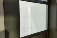 geperforeerde raamfolie, montage binnen, geen print, gedeeltelijke privacy, closeup