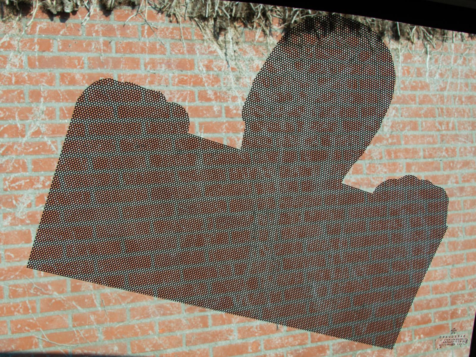 one way vision raamfolie, klein, vorm gesneden, achterkant