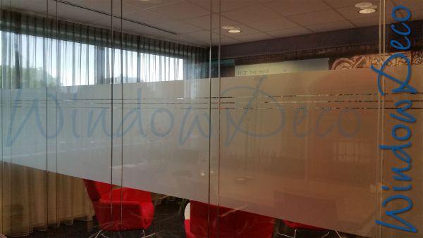 Kantoor, met streep, raamfolie, glasfolie, anti inkijk, windowdeco