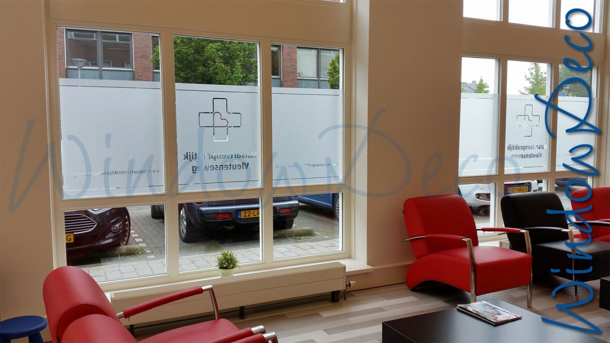 Wachtruimte, raamfolie met logo, en, streep, glasfolie, anti inkijk, privacy, windowdeco