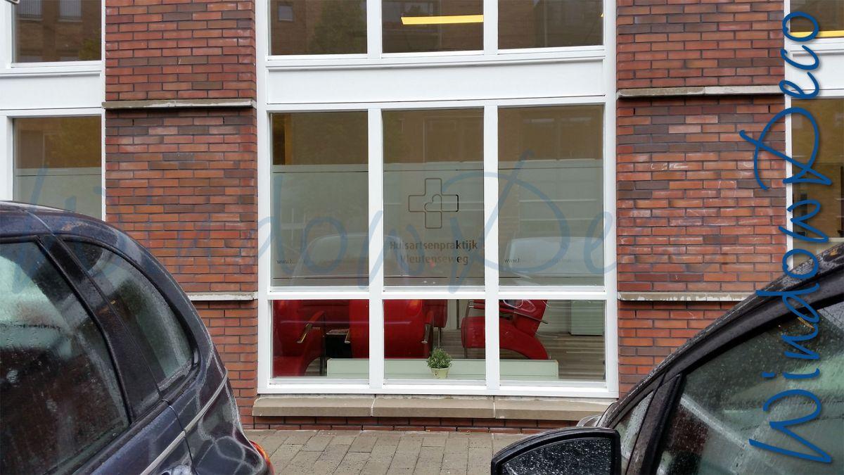 Wachtruimte, raamfolie met logo, en, streep, glasfolie, anti inkijk, privacy, windowdeco, buitenkant