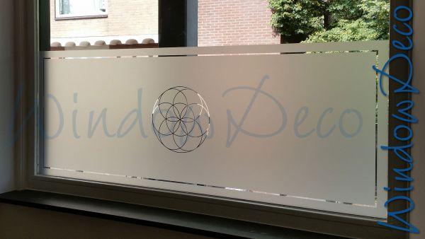 Woonkamer, raamfolie met eigen ontwerp, en, streep, glasfolie, anti inkijk, windowdeco