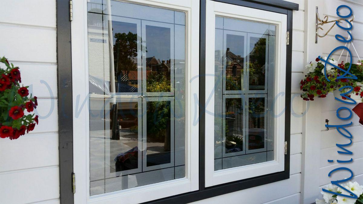glasfolie, raamfolie, gedeeltelijke privacy, garage, windowdeco, buitenkant