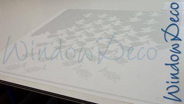 raamfolie met eigen ontwerp, complex, glasfolie op maat, escher, windowdeco