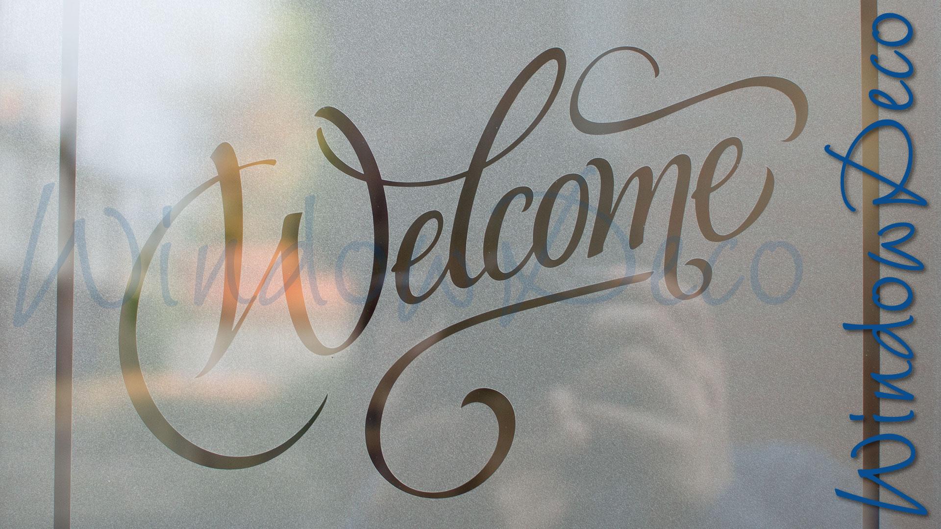 raamfolie, welcome, welkom, op maat gemaakt